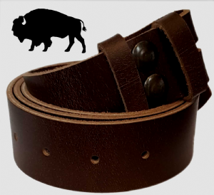 38mm Genuine BUFFALO Hide Dark Brown Snap Fit Leather Belt 1.5 inches wide
